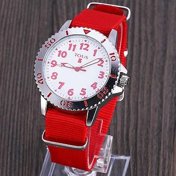 TOUS Fashion Women Men Personality Chic Movement Canvas Watchband Watch Wristwatch Lovers Watch(5-Color) Red I-YY-ZT
