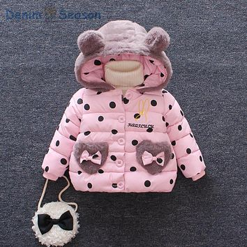 Denim Season Korean Princess Print Baby Girls Coat Causal Hooded Cute Girl Winter Clothes Thicken Down Jacket Infants Snowsuit
