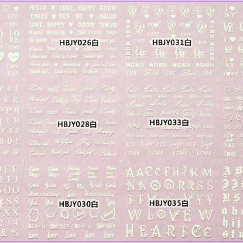 12 PCS /  LOT SELF-ADHESIVE 3D NAIL TATTOOS STICKER WHITE BLACK GOLD SILVER COLOR ALPHABET LETTER LOVE POEM HBJY025-036