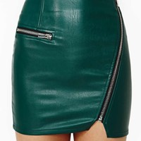 Motorcycle Drive Faux Leather Skirt