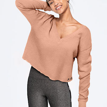 Long Sleeve Waffle V-Neck Tee - PINK - Victoria's Secret