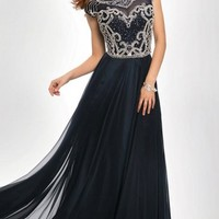 Cap Sleeve Chiffon Prom Dress Jovani 21030 Navy