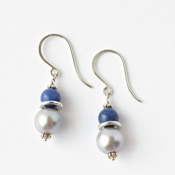Blue Beaded Earrings / Silver Pearl Earrings / Sterling Silver Earrings / Blue Gemstone Beaded Earrings / Large Freshwater Pearl Earrings