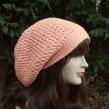 Light Peach Crochet Hat - Womens Slouch Beanie - Slouchy Oversized Cap - Chunky Hat