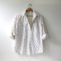 vintage white polka dot shirt. button down shirt. oversized pocket shirt