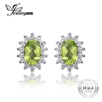 Jewelrypalace Princess Diana William Kate 1.2ct Natural Peridot Halo Stud Earrings 925 Sterling Silver 2016 New Fine Jewelry