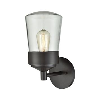 45117/1 Mullen Gate 1 Light Outdoor Wall Sconce In Oil Rubbed Bronze With Clear Glass