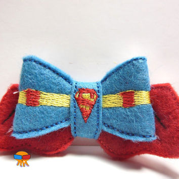 Amazing Man Super Hero inspired 3D felt bow felt clippie physical item made to order