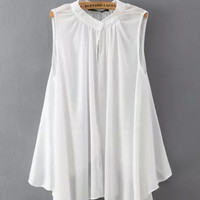 Sleeveless Chiffon Pleated Blouse