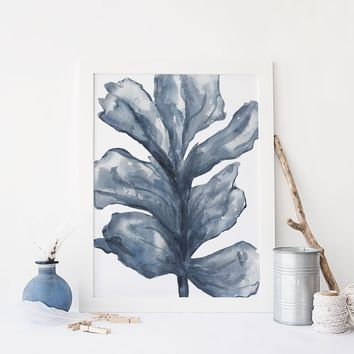 Blue Sea Lettuce Watercolor Art Print