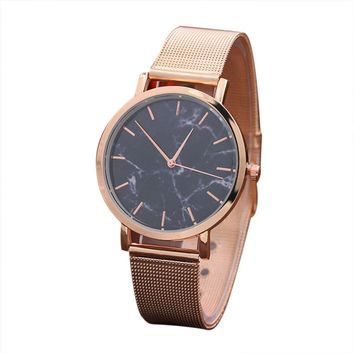 Fashion Women Wrist Watch Marble Surface Stainless Steel Band Quartz Movement Rose Gold Simple Ladies Fashion Dress Wristwatches