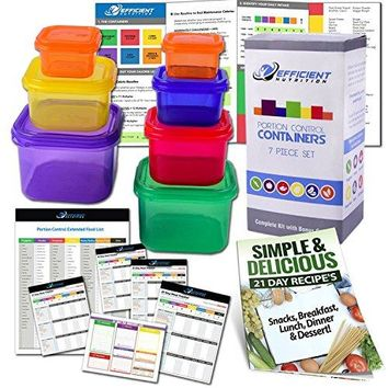 21 Day Portion Control Containers Kit (7-Piece) w/GUIDE, PLANNER, RECIPE eBOOK, BPA FREE Meal System