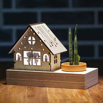 Succulent cactus mini air planter pot/House shaped wooden miniature silhouette night lamp table light/Custom picture frame photo laser cut