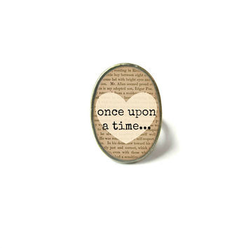 Book Lover's once upon a time... Adjustable Ring - Geeky Science Pop Culture Jewelry - Funny Bookworm Jewelry