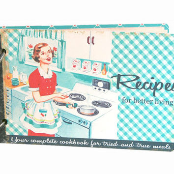 Kitschy retro recipe book album in aqua gingham with recipe cards