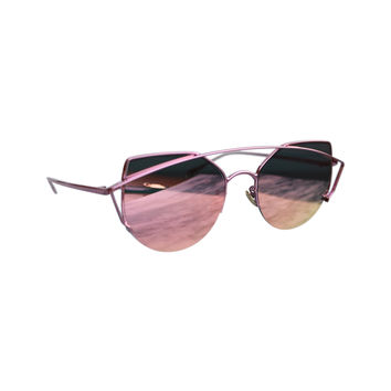 CUT OUT METAL SUNGLASSES - ROSE