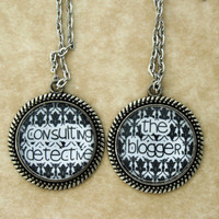 "SHERLOCK BBC ""The Blogger"" & "" Consulting Detective"" Friendship Pendants Necklace, Sherlock Holmes,Fan Jewelry, Great Gift"