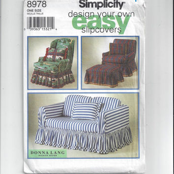 Simplicity 8978 Pattern Instructions Design Your Own Easy Slipcovers, 1994. Donna Lang Interior Design. Smocked, Tailored, Gathered Skirts
