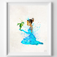 Tiana Print, Tiana and Frog Art, Disney Poster, Watercolor Print, Decor Idea, Home Town, Giclee Print, Nursery Decor, Halloween Decor