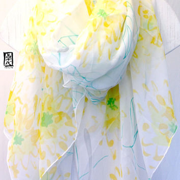 Hand painted Silk Shawl Scarf Yellow Chrysanthemums. Light Gray, Green and Yellow Floral Scarf. Silk Chiffon Wrap Shawl. Approx 43x72  in.