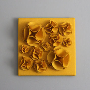"Mustard Yellow 3D Felt Wall Art Canvas, 12x12"" Wall Hanging, Nursery Art, Baby Art, Wall Decor"