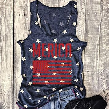 'Merica Stars & Stripes - Women's Plus Size Casual Sleeveless Tank Top