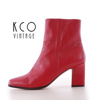 Red Leather Boots Size 10.5 Women's Vintage Chelsea Boot / 80's 90's High Block Heel Classique Retro Shoes US 10 - 10.5 / UK 8 - 8.5 / EUR39