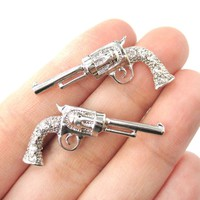 Detailed Gun Pistol Revolver Shaped Stud Earrings in Silver with Rhinestones