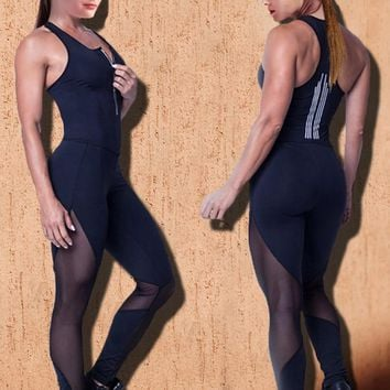 slim mesh workout jumpsuit