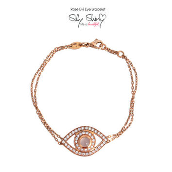 Fashion Evil Eye Diamond Bracelet.14K Gold, 0.65ct diamodns, center cabochon rose quartz.