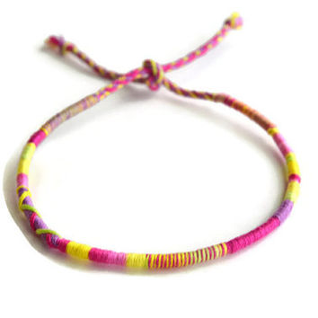Pink Tie Dye Friendship Bracelet and Anklet, Yellow and Pink Wanderlust Friendship Anklets