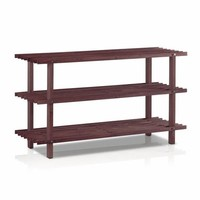Dark Cherry Solid Wood 3-Tier Shoe Rack