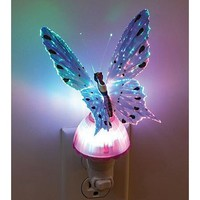 Leegoal Purple Butterfly Optic Fiber Color Changing Night Light Show