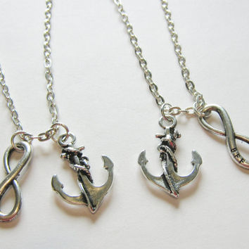 2 Anchor Infinity BFF Best Friends Necklaces, Anchor Necklaces, Sisters Necklaces, Couples Necklaces, Two Best Friends Necklaces, BFF Gift