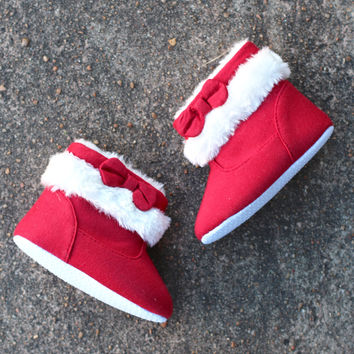 Baby's Bow Christmas Bootie {Red+White}