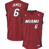 adidas Men's Miami Heat LeBron James Replica Revolution 30 Red Basketball Jersey