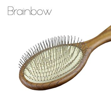 Brainbow 1pc Wood Hair Brush Anti-static Massager Hair Care& Styling Tools Natural Paddle Airbag Cushion Handle Brush Home Salon