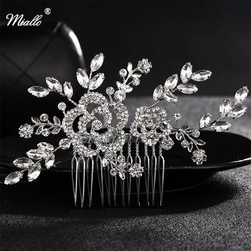 Miallo Wedding Accessories Bridal Pearl Hairpins Silver Flower Crystal Rhinestone Hair Clips Bridesmaid Women Hair Jewelry