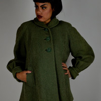 40's Wool Jacket, Vintage Jacket, Green Jacket, Fall Jacket, World War II Jacket,  Boucle Wool, Swing Jacket, Size Small