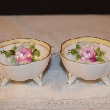 Two Nippon Salt Cellars Antique Nippon Open Salt Cellar Nut Dish Hand Painted Gilded Pink Rose Footed Candy Dish Ring Holder Holiday Serving