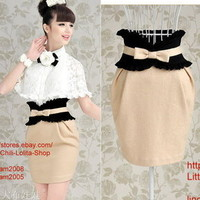 Princess Lolita Cute Sweet Gothic Nana PUNK High waist A-Line Slim Skirt apricot