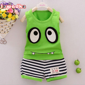 Kid Boys Set Short Vest T-Shirts+Stripe Pants 2pcs Big Eyes Pattern Design Kid Sets Summer Children Clothes