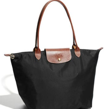 Longchamp New Le Pliage Nylon Tote Handbag black Large France