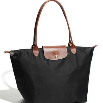 77f248b1d Longchamp New Le Pliage Nylon Tote Handbag black Large France