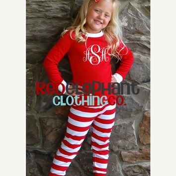 Christmas Pajamas Red Stripe, Monogrammed PJs, Embroidered Kids Pajamas, Red Pajamas, Monogram