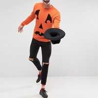 ASOS HALLOWEEN Sweater with Pumpkin Face in Fluffy Yarn at asos.com