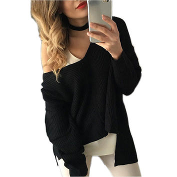 Sexy Knitted Autumn Winter Women Sweaters 2016 Fashion Sweaters Pullover V Neck Long Sleeve Asymmetric Loose Warm Sweaters GV389