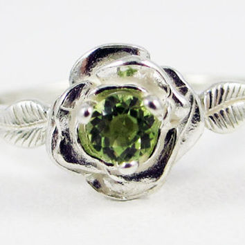 Peridot Rose Ring Sterling Silver, August Birthstone Ring, Sterling Silver Rose Ring, Peridot Gemstone Ring, 925 Sterling Silver Rose Ring