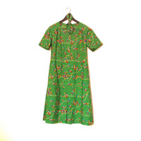 Short Sleeve Vintage Dress, Cute Green Dress With Flowers, Green Floral Dress With Belt