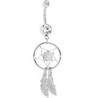 White Native American Dreamcatcher Belly Ring | Body Candy Body Jewelry